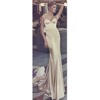 dress prom dress maxi dress silk girl cream dress cream prom