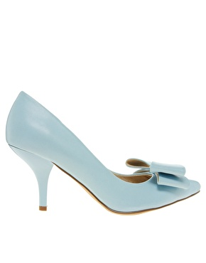Faith | Faith Crobon Mid Heel Bow Blue Court Shoes at ASOS
