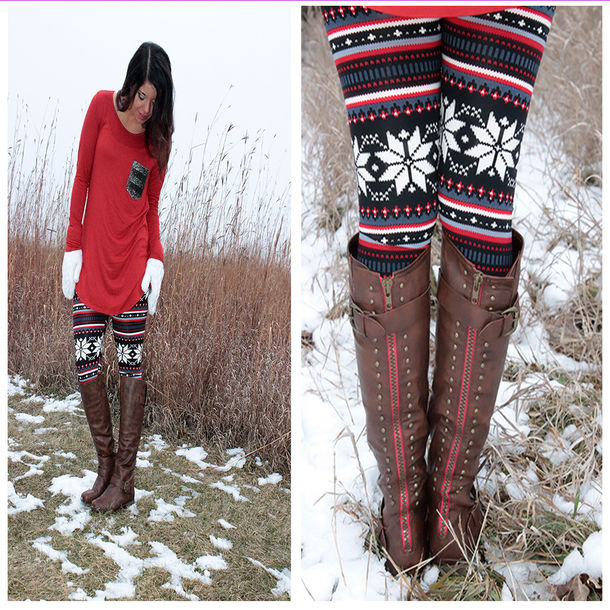 shoes boots studded shoes red zipper boots brown boots fashion winter boots fall shoes snowflake leggings leggings printed leggings red brown sequins sequin shirt sequin sweater sequin pockets