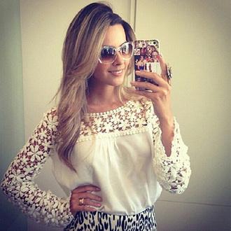crochet top cute classy sunglasses t-shirt