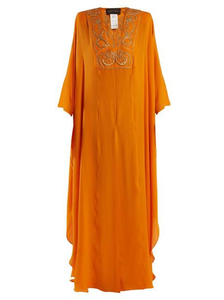 gown embroidered silk orange dress