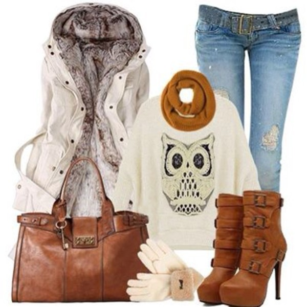 coat scarf jeans sweater shoes bag