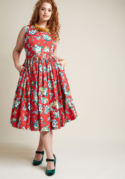 Modcloth dress flare dress flare fit fabulous floral red