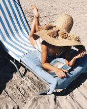 hat,tumblr,big hat,straw hat,tassel,sun hat,swimwear,one piece swimsuit,striped swimwear,beach towel