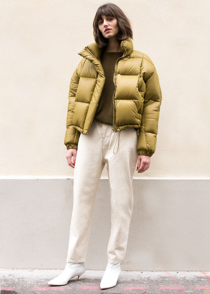 Mustard Green Quilted Puffy Coat