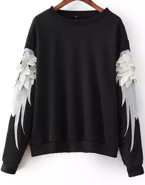 sweater black and white sweatshirt with angel wings