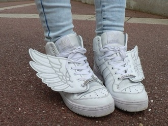 shoes white wings trainers sneakers lace up perfection white shoes angel wings kawaii asian fashion adidas wings adidas shoes adidas