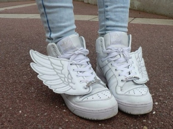 shoes white shoes angel wings kawaii asian fashion white wings trainers sneakers lace up perfection