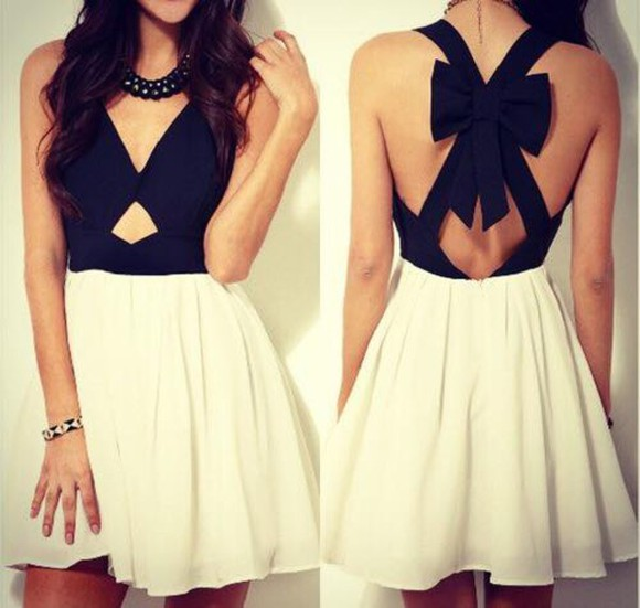 ribbon white dress wight little black dress