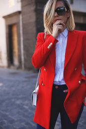 jacket,tumblr,red blazer,white bag,blazer,shirt,blue shirt,stripes,striped shirt,denim,jeans,black jeans,spring outfits,office outfits,spring work outfit,bag,mini bag,sunglasses