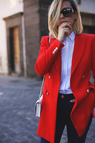 jacket tumblr red blazer white bag blazer shirt blue shirt stripes striped shirt denim jeans black jeans spring outfits office outfits spring work outfit bag mini bag sunglasses