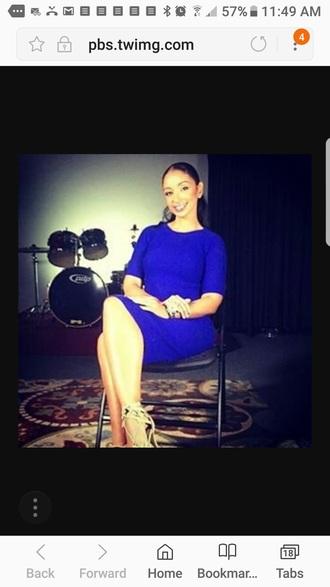 dress royal blue knit mya