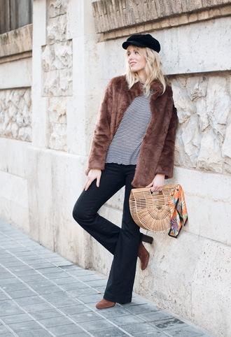 macarenagea blogger coat jeans sweater shoes bag sunglasses hat fisherman cap faux fur coat cult gaia bag winter outfits boots