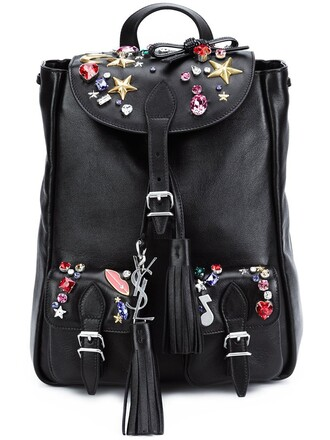 mini embellished backpack black bag