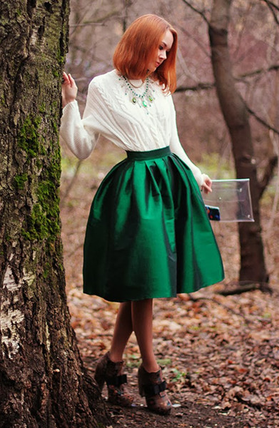 Green Midi Skater Skirt | Choies