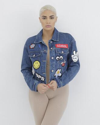 jacket denim denim jacket badge badge jacket embroidered embroidered jacket