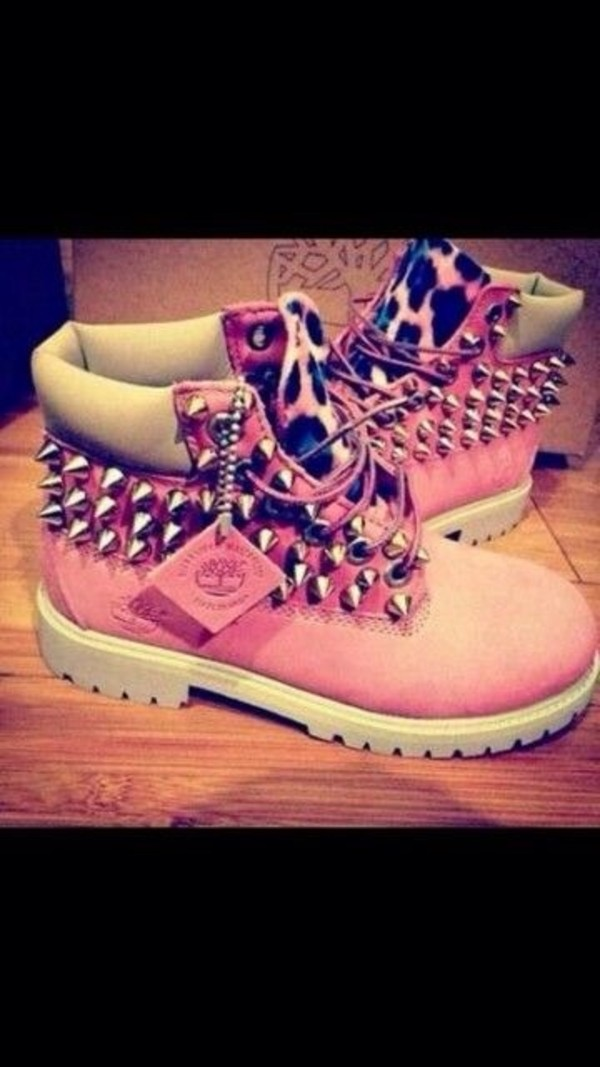 shoes timberlands pink leopard print leopard print spikes pink timberlands with cheetah & spikes