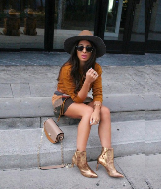 style by nelli blogger gold shoes metallic shoes fall colors fall outfits gold boots high heels boots ankle boots boots mustard skirt mini skirt sunglasses