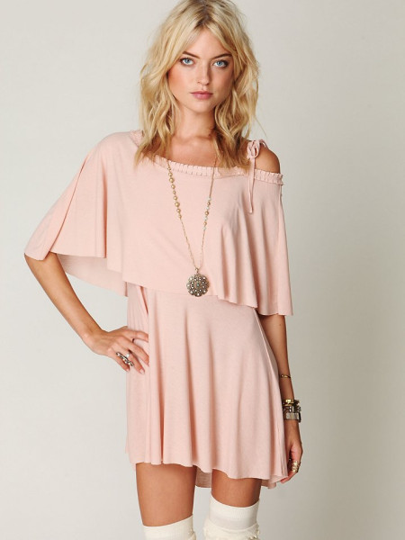 Free People Double Rainbow Dress in Pink (nude blush) | Lyst