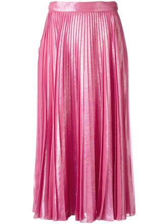 skirt metallic skirt pleated metallic women silk purple pink