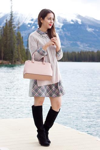 jewels baby pink blogger bag jumper adventures in fashion tartan dress