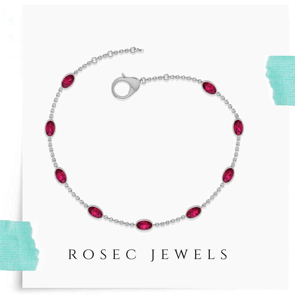 Ruby Chain Station Bracelet, Delicate Pink Gemstone Women Bracelet, White Gold Chain Birthstone Bracelet