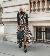 dress,midi dress,asymmetrical dress,sleeveless dress,zebra print,boots,turtleneck,handbag,chain necklace