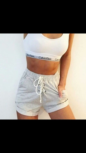 shorts grey lace up