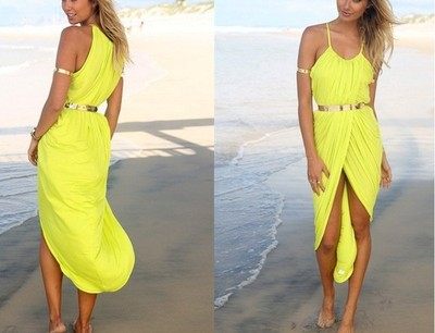 Sleeveless beach dress cross With metal belt Yellow · Outletpad · Online Store Powered by Storenvy