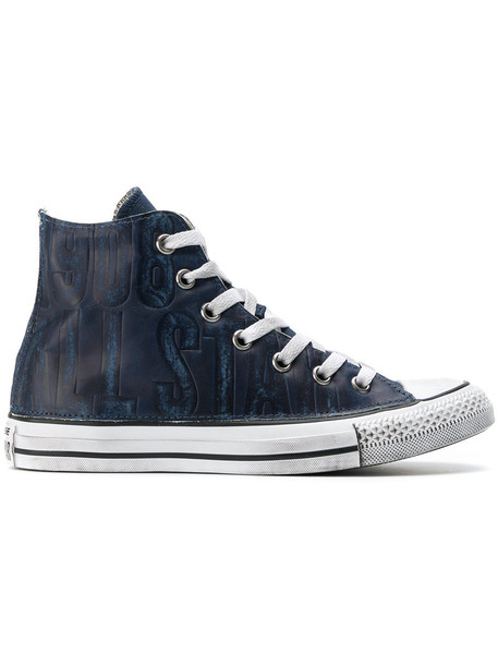 converse women sneakers leather blue shoes