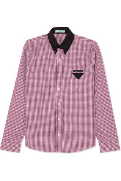 Prada - Gingham Cotton-poplin Shirt - Red