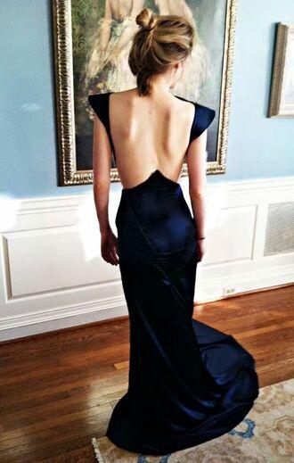 dress backless dress navy royal blue dress formal amazing long dress