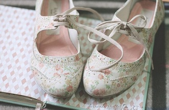 shoes floral oxfords girly cute kawaii flats brogue shoes vintage