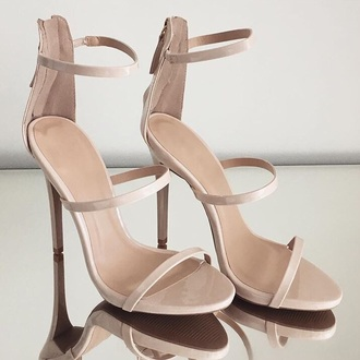 shoes taupe nude strappy heels heels nude heels high heels heels with straps