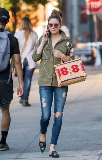 jeans jacket olivia palermo blogger streetstyle