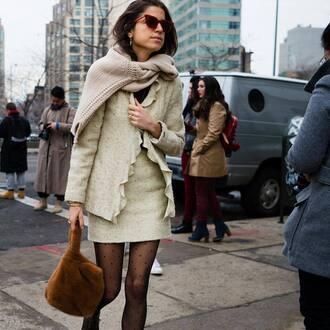 skirt tumblr streetstyle man repeller nude skirt mini skirt matching set bag furry bag sunglasses tights polka dot tights