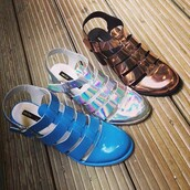 shoes,hologram sandals,metallic bronze sandal,baby blue sandal