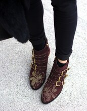 shoes,susanna boots,burgundy,mid heel boots,buckle boots,buckles,studded shoes,studded,ankle boots,red boots,jeans,black jeans,chloe