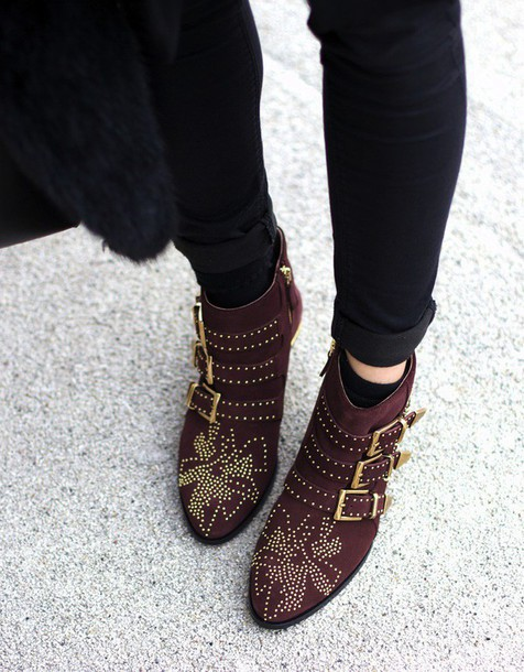 shoes susanna boots burgundy mid heel boots buckle boots buckles studded shoes studded. Black Bedroom Furniture Sets. Home Design Ideas