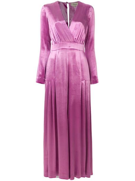 jumpsuit women spandex silk purple pink