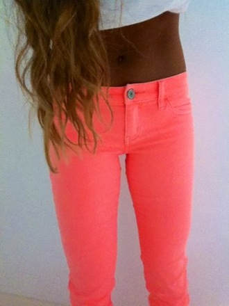 jeans crop tops top neon neon jeans denim summer outfits tan six pack low rise jeans