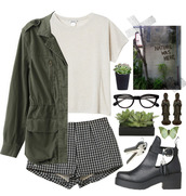 shirt,grunge,shoes,plants,glasses,shorts,checkerd,jacket,camouflage,white,green,black,butterfly,tumblr,butterfly sunglasses