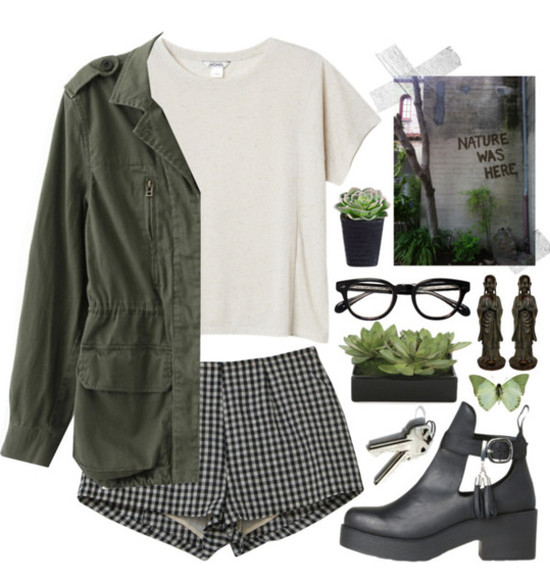 shorts butterfly white glasses shoes shirt grunge plants checkerd jacket army green black tumblr butterfly sunglasses