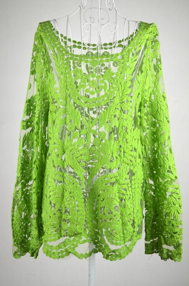 Grátis Shipping2014 moda mulheres Sheer bordado Floral oco Lady Lace Crochet t longo Tops blusa Plus Size S XXL em Blusas de Roupas e Acessórios Femininos no AliExpress.com | Alibaba Group