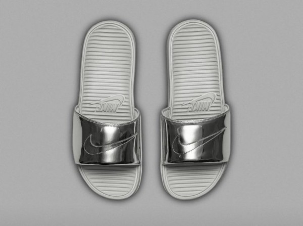 shoes liquid silver nike slides liquid gold slide shoes nike metallic shoes