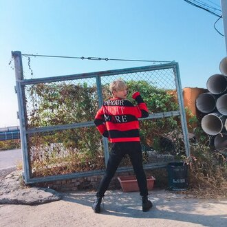 sweater victon kpop 24 hour nightmare streetwear red and black sweater