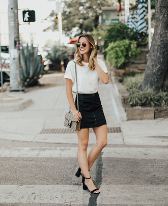 skirt mini skirt faux leather skirt t-shirt blogger blogger style sandals crossbody bag gucci bag