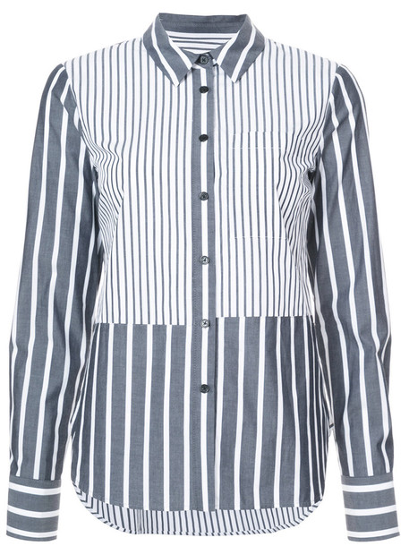 DEREK LAM 10 CROSBY shirt long ruffle women cotton grey top