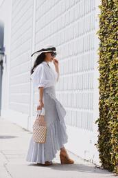 hallie daily,blogger,shirt,hat,skirt,bag,sunglasses,shoes,maxi skirt,white top,wedges,spring outfits