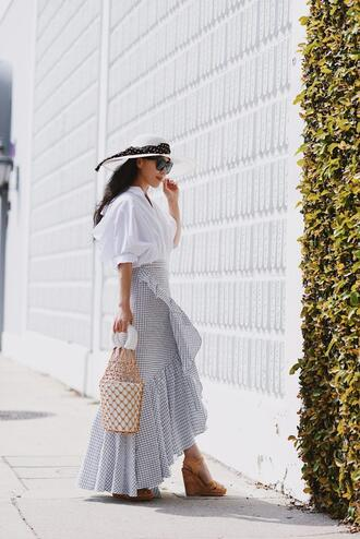 hallie daily blogger shirt hat skirt bag sunglasses shoes maxi skirt white top wedges spring outfits